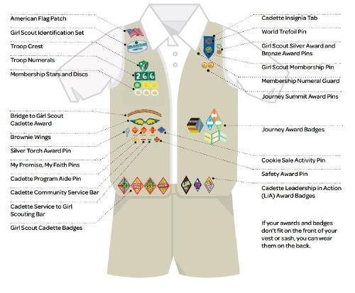 public cadette uniform   girl scout troop 453 peoria